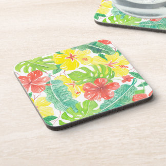 Tropical garden, hibiscus plumeria and palm leaves beverage coaster