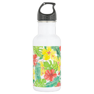 Tropical garden, hibiscus plumeria and palm leaves water bottle
