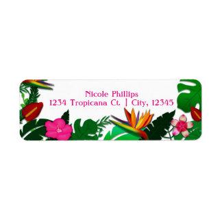 Tropical Garden Leaves & Flowers Address Labels