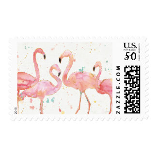 Tropical | Gathering of Flamingos Postage
