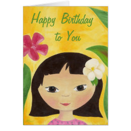 Tropical Girl birthday card