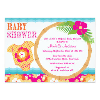 Tropical Girls Baby Shower Card