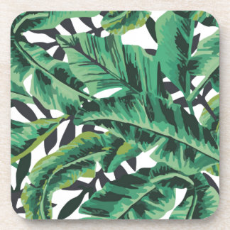 Tropical Glam Banana Leaf Pattern Beverage Coaster