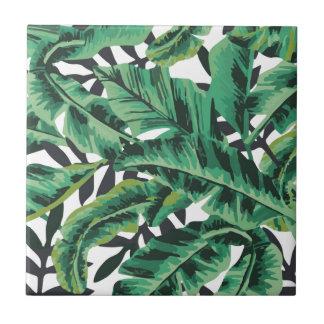 Tropical Glam Banana Leaf Pattern Ceramic Tile