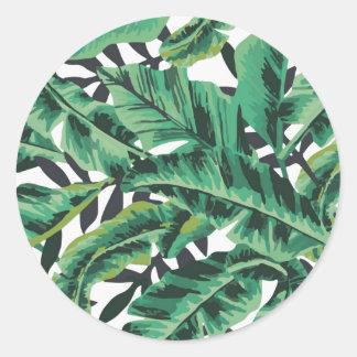 Tropical Glam Banana Leaf Pattern Classic Round Sticker