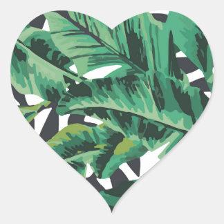 Tropical Glam Banana Leaf Pattern Heart Sticker