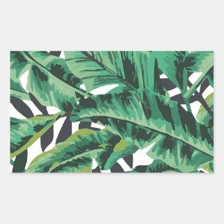 Tropical Glam Banana Leaf Pattern Rectangular Sticker