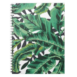 Tropical Glam Banana Leaf Pattern Spiral Notebook