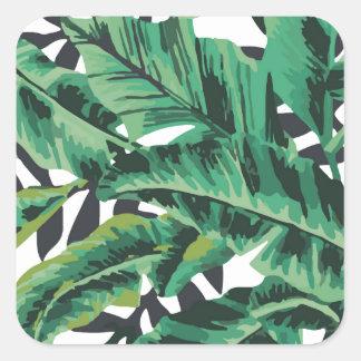 Tropical Glam Banana Leaf Pattern Square Sticker