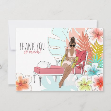 Tropical Glitter Bachelorette Party African Bride Thank You Card