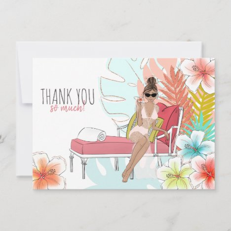 Tropical Glitter Bachelorette Party Brunette Bride Thank You Card