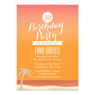 Tropical Gold Beach Theme Birthday Party Announcements