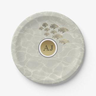 Tropical Gold Fish , Monogram Beach Wedding Paper Plate