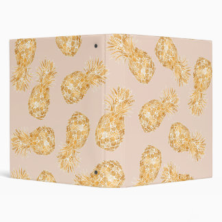 Tropical gold Hawaiian pineapples pattern on pink Binder