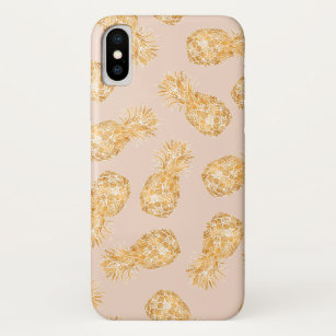 92596979 Tropical gold Hawaiian pineapples pattern on pink iPhone X Case