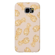 Tropical gold Hawaiian pineapples pattern on pink Samsung Galaxy S6 Case