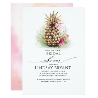 Tropical Gold Pineapple Beach Floral Bridal Shower Invitation