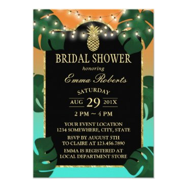 myinvitation Tropical Gold Pineapple Elegant Luau Bridal Shower Card