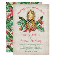 Tropical Golden Pineapple Wedding Invitation