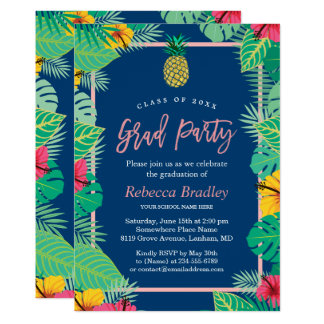 Tropical Graduation Party Navy Blue Gold Pineapple Card