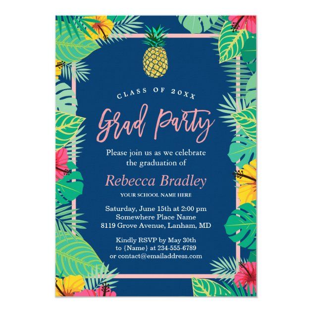 Tropical Graduation Party Navy Blue Gold Pineapple Card (back side)