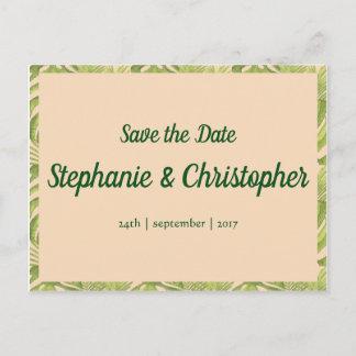 Tropical Green and Blush Wedding Announcement Postcard