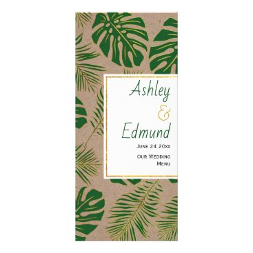 Tropical green and gold rustic wedding menu card