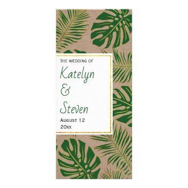 Tropical green and gold rustic wedding program