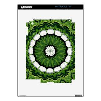 Tropical Green and White Flora Mandala iPad 2 Skins