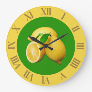 Tropical Green and Yellow Citrus and Fresh Lemons Large Clock