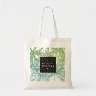 Tropical Green/Aqua Glitter Palms Budget Tote Bag