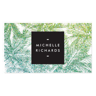 Tropical Green/Aqua Glitter Palms Business Card