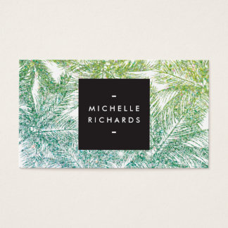 Tropical Green/Aqua Glitter Palms Business Card