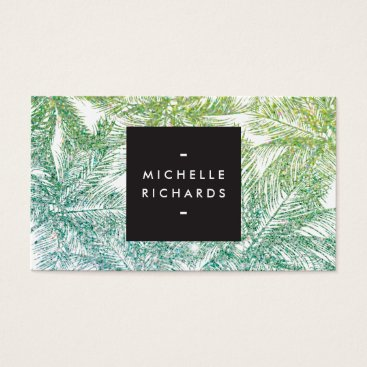 Beach Themed Tropical Green/Aqua Glitter Palms Business Card
