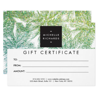 Tropical Green/Aqua Glitter Palms Gift Card