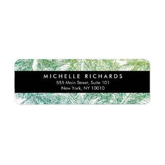 Tropical Green/Aqua Glitter Palms Label