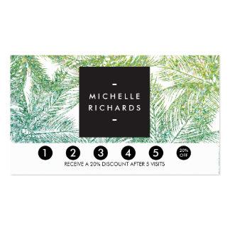 Tropical Green/Aqua Glitter Palms Loyalty Card Business Card