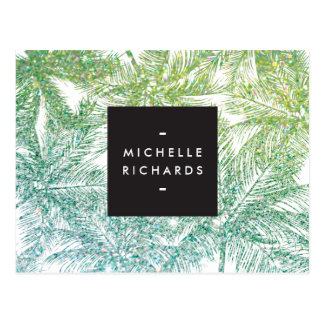 Tropical Green/Aqua Glitter Palms Postcard
