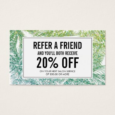 Beach Themed Tropical Green/Aqua Glitter Palms Referral Card
