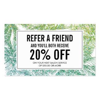 Tropical Green/Aqua Glitter Palms Referral Card Business Card