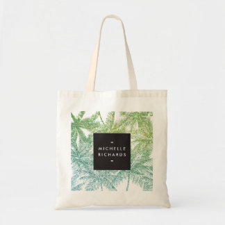Tropical Green/Aqua Glitter Palms Tote Bag