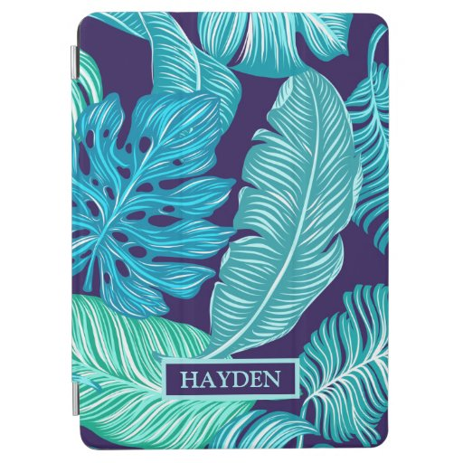 Tropical Green Blue Leaves Pattern Personalised iPad Air Cover