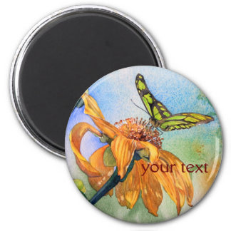 Tropical Green Butterfly Watercolor 2 Inch Round Magnet
