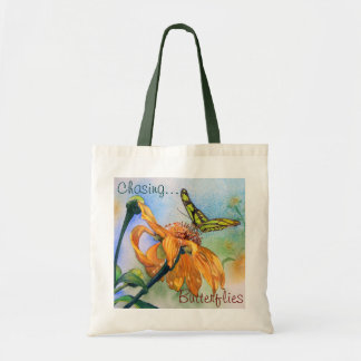 Tropical Green Butterfly Watercolor Canvas Bag