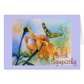 Tropical Green Butterfly Watercolor Greeting Card