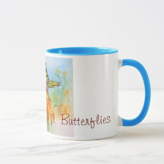 Tropical Green Butterfly Watercolor Mug