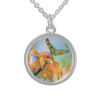 Tropical Green Butterfly Watercolor Sterling Silver Necklace