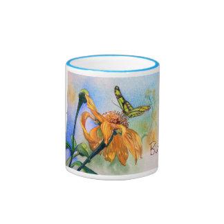 Tropical Green Butterfly Watercolor Ringer Mug