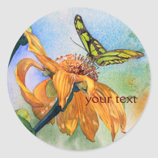 Tropical Green Butterfly Watercolor Classic Round Sticker
