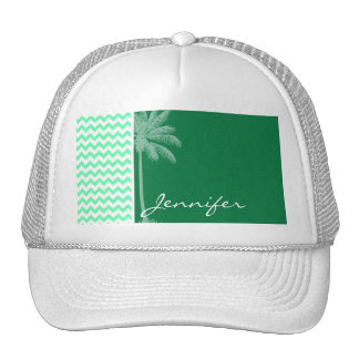 Tropical Green Chevron Mesh Hat